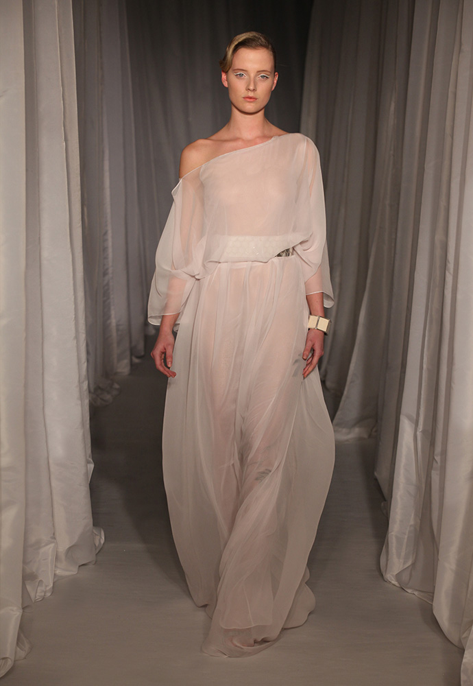 Pale lilac chiffon gown with white and grey wisteria embroidery with wide silver hexagon belt
