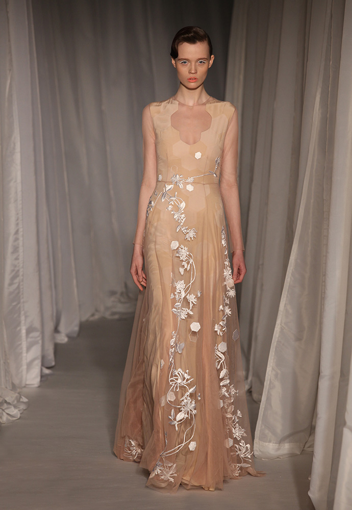 Nude tulle gown with honeysuckle and hexagon embroidery with nude hexagon panelled underdress