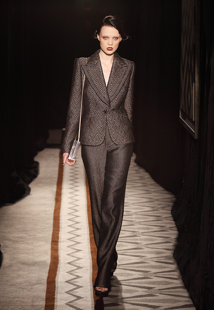 Jacket and trouser in hand-woven tweed