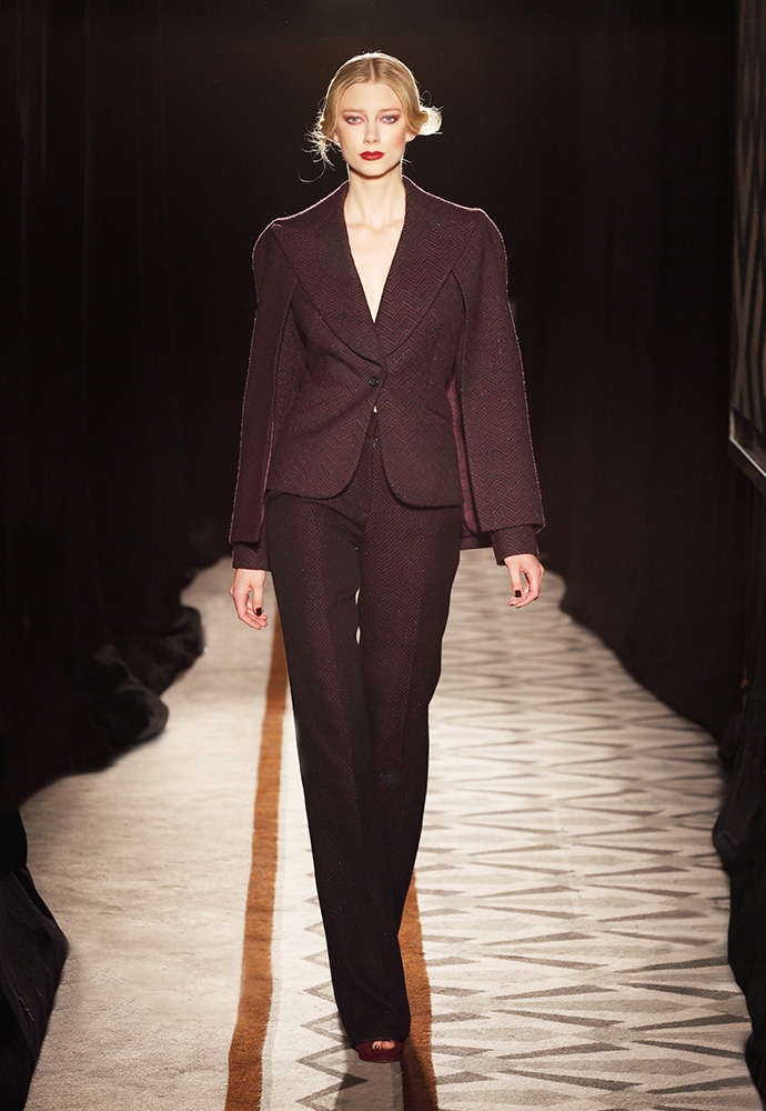 Cape Jacket and trouser in hand-woven aubergine and black tweed