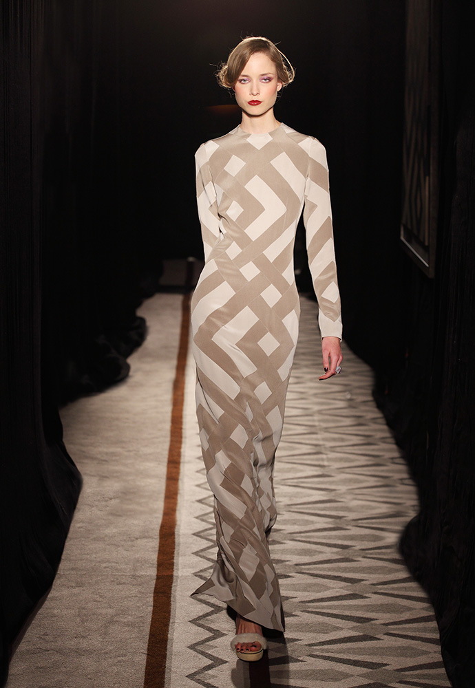 Graphic pattern column gown in silk crepe