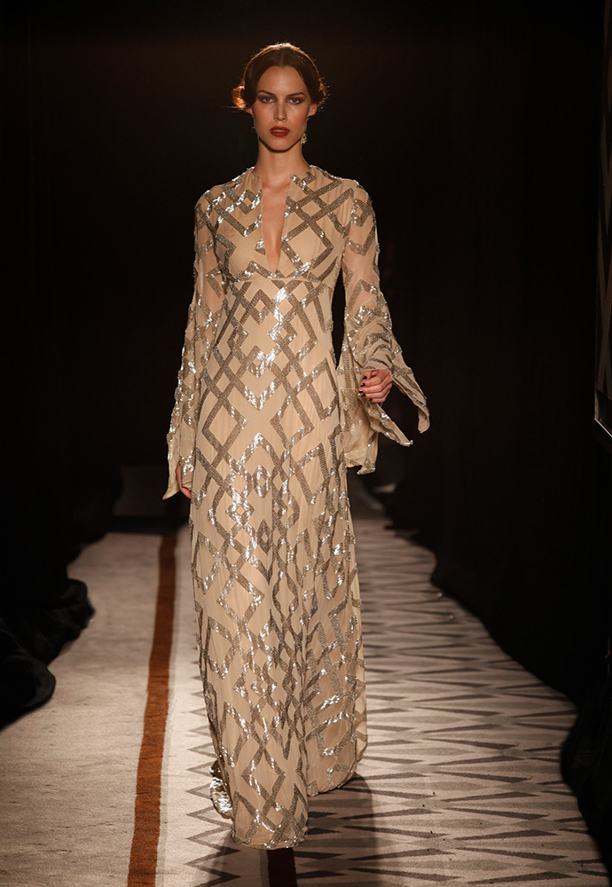 Graphic pattern beaded empire-waist gown in oyster georgette
