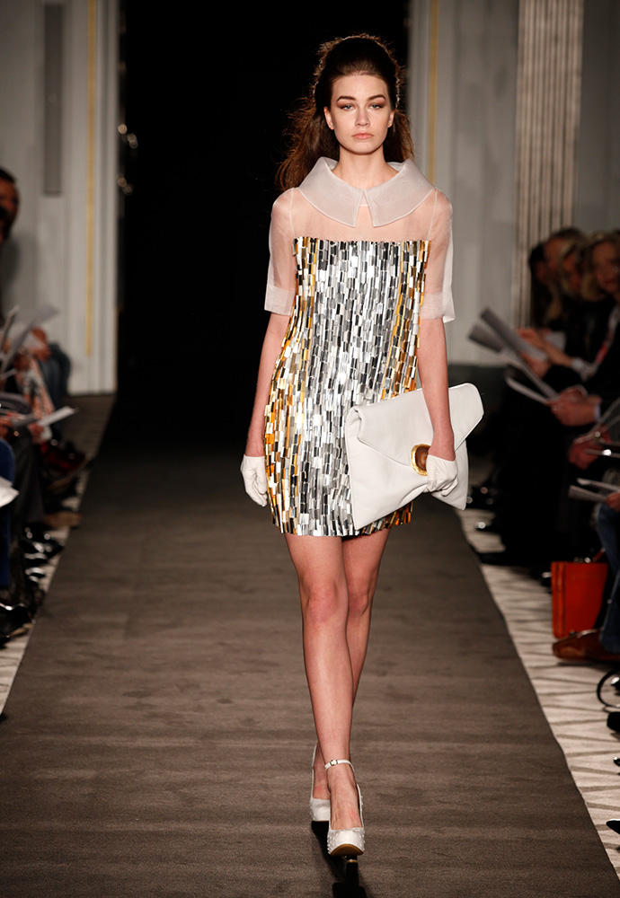 'London lights' dress in organza with paillettes