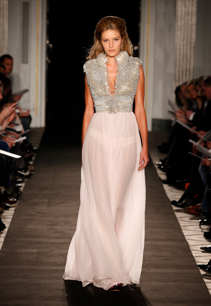 'Morganite' gown in chiffon with bugle beads and crystal bodice