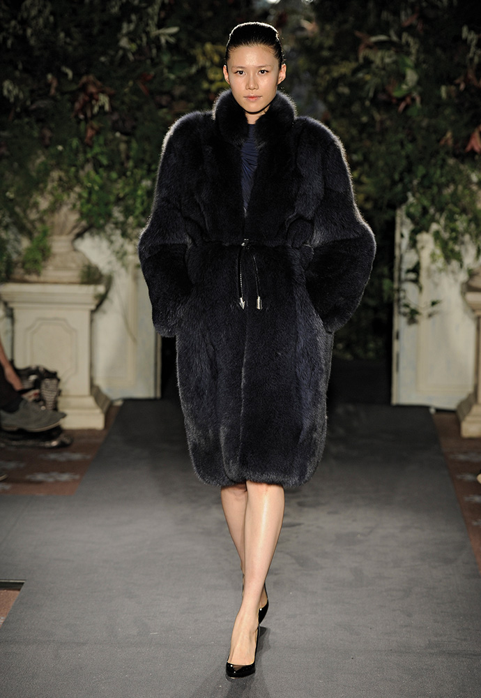 Midnight blue fox fur coat