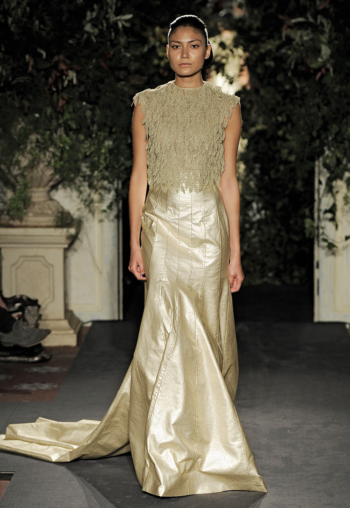 Gold leather gown with lace bodice