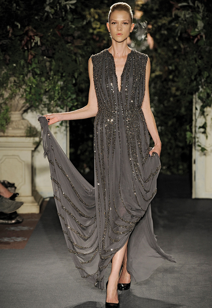 Pleated chiffon gown with beading