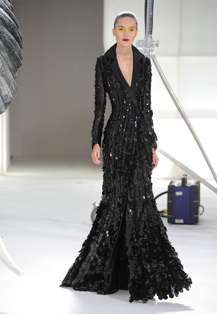 Woven herringbone bugle bead and sequin fishtail gown