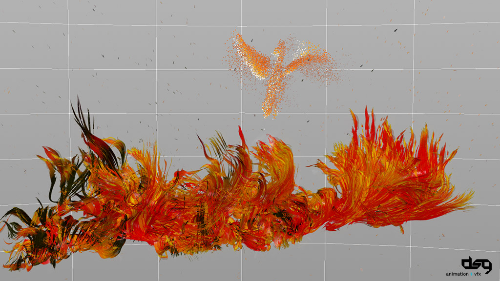 fire simulation to textured geometry