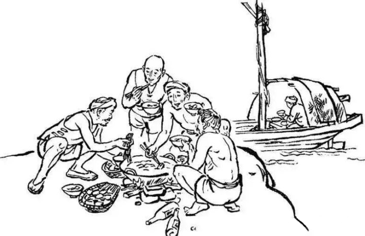 Illustration of boat trackers having hot pot/Malatang after long working day near Yantze River
