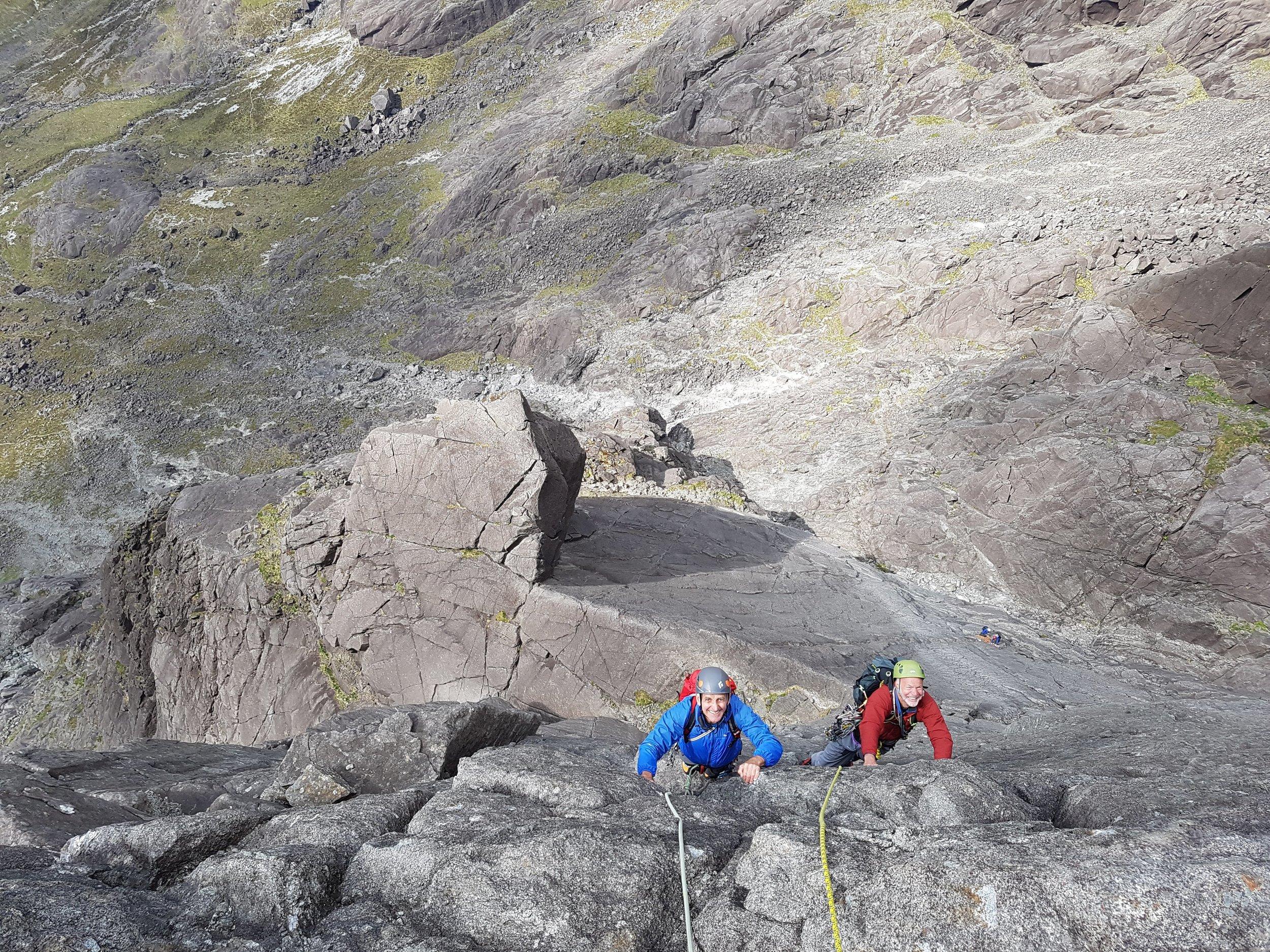 Sean & Roger climbing Integrity (VS) on the Isle of Skye