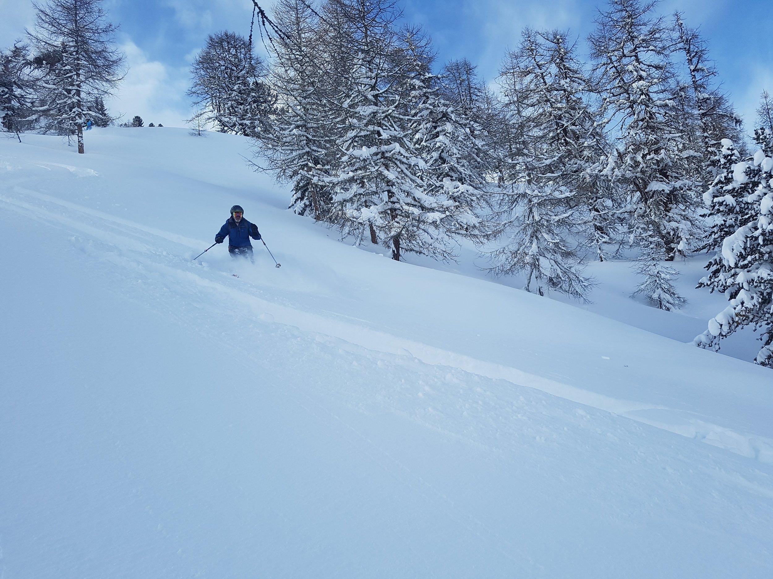 Tree skiing in a secret spot in Switzerland