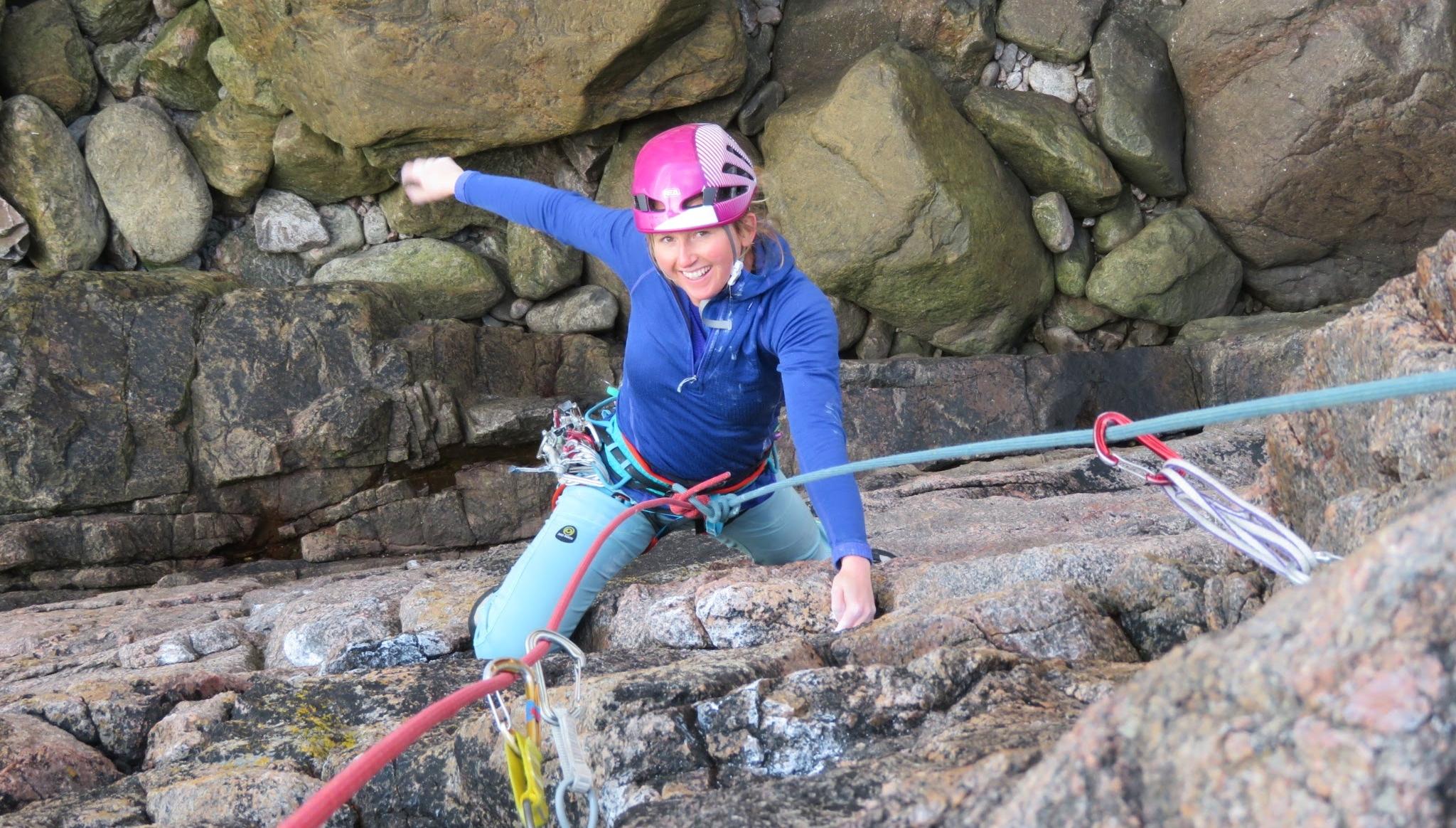 Lou climbing Monkey Man (E3 5c) at Sheigra, Far North