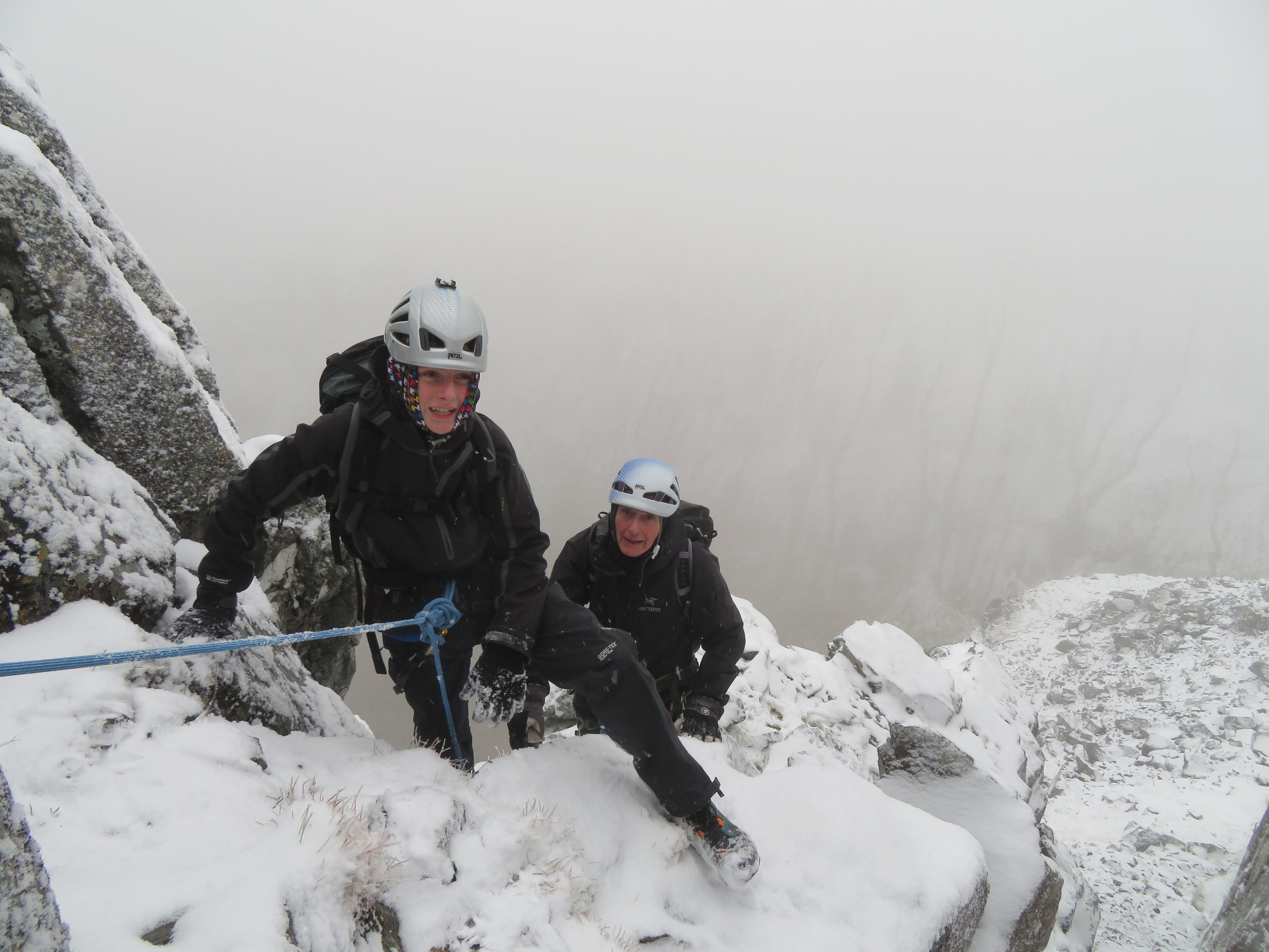 Kyle and Grandad Alan on Ledge Route during the first snows. This was Kyle's (12 years old) first time in the snowy mountains.