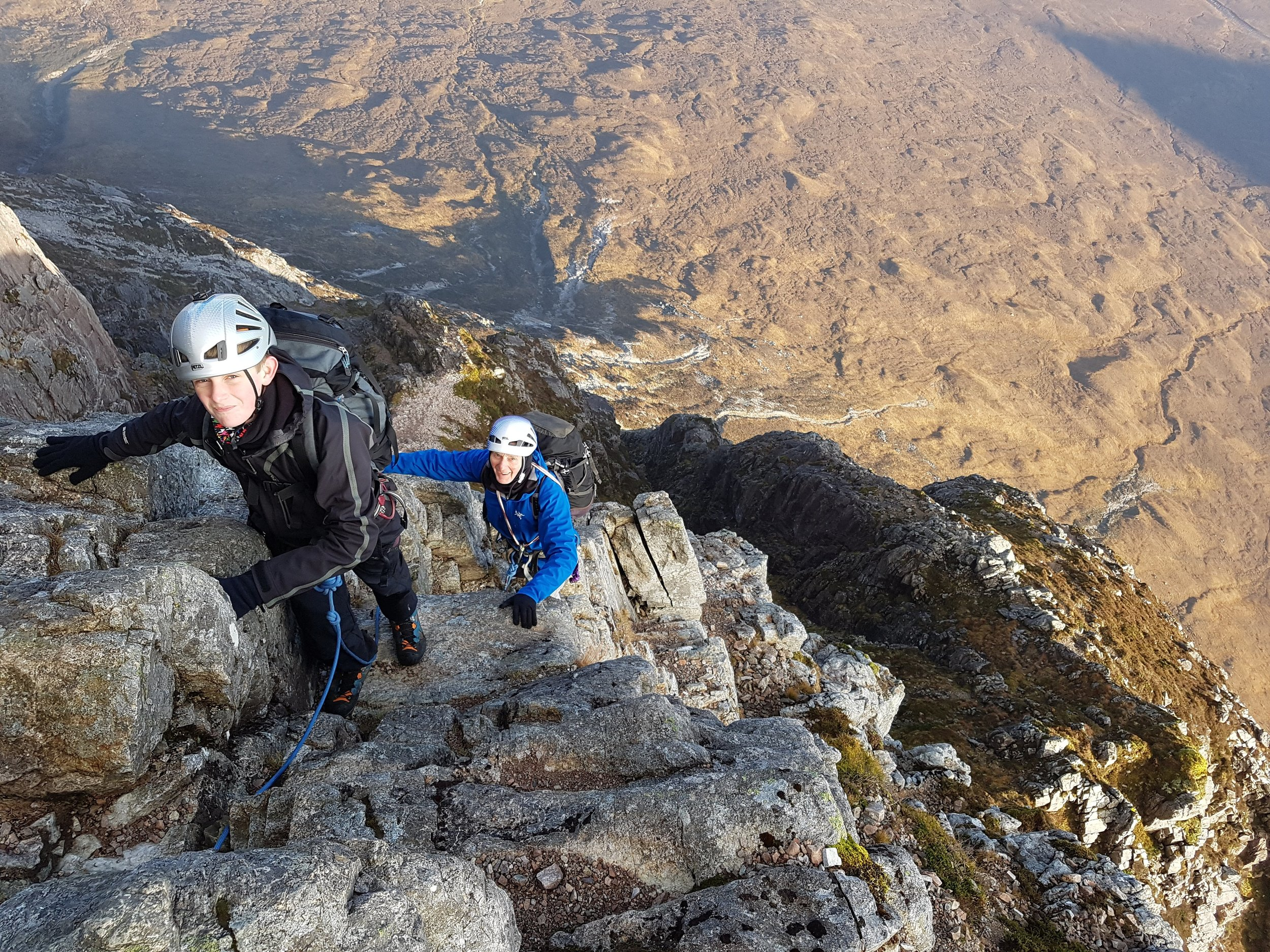 This time there was no snow but plenty of sun. Kyle first time climbing the Buachaille via Curved Ridge with Grandad Alan.
