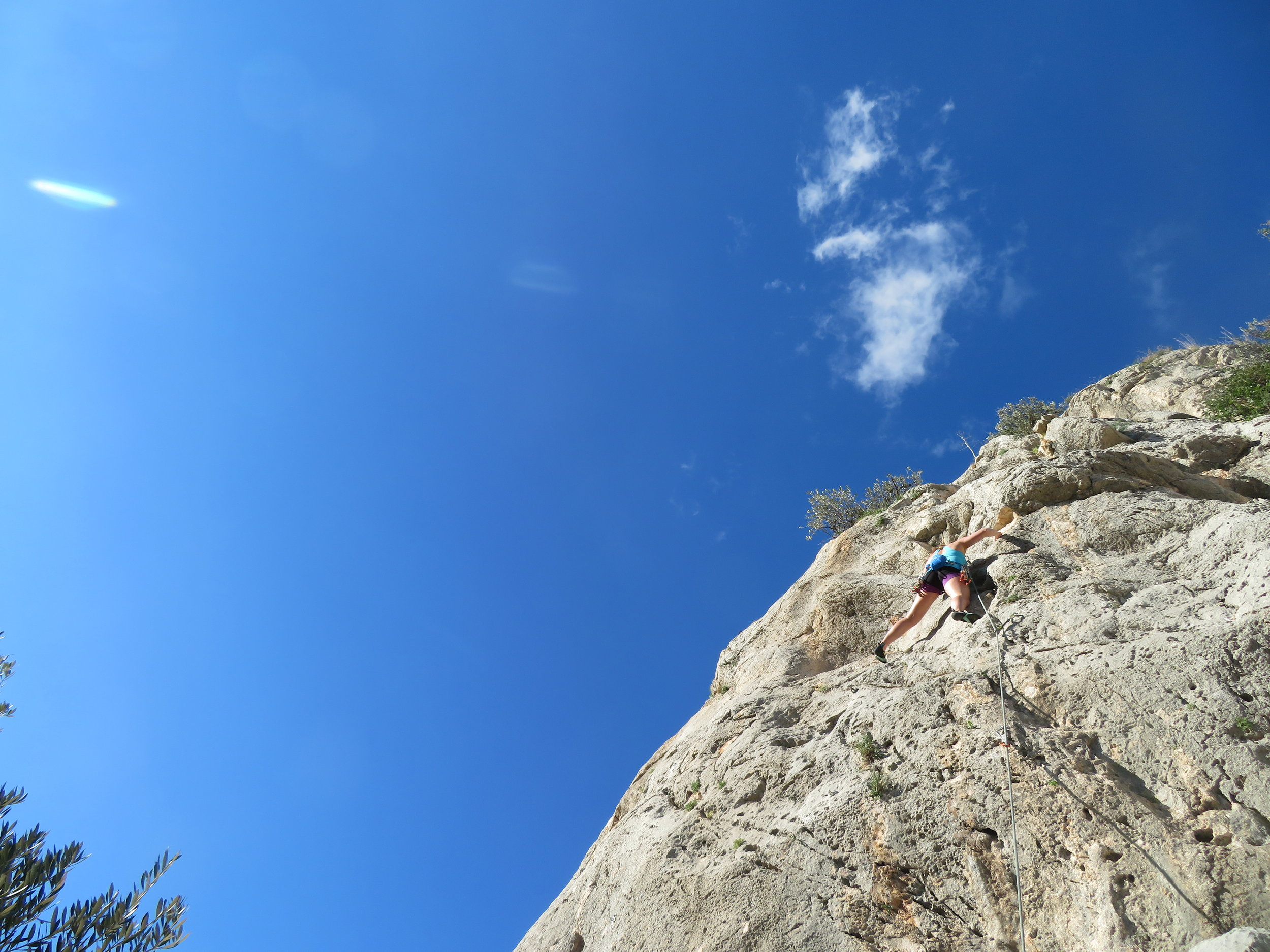 Ahhh warm rock and sunshine…this felt like a shock to the system! But coming back was even harder! Lou cruising above El Chorro.