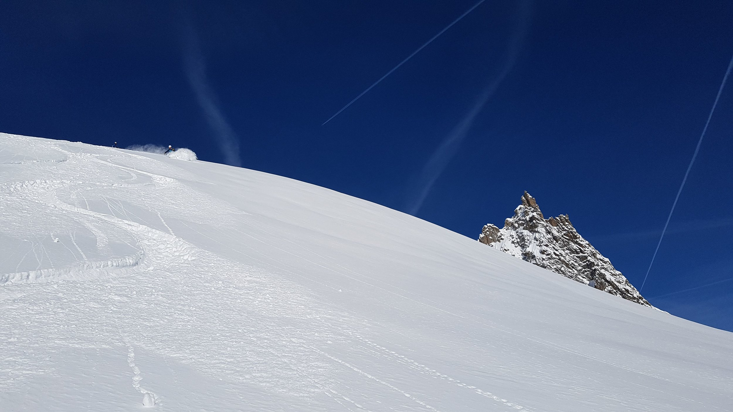 Fresh tracks on the Vallee Blanche last week