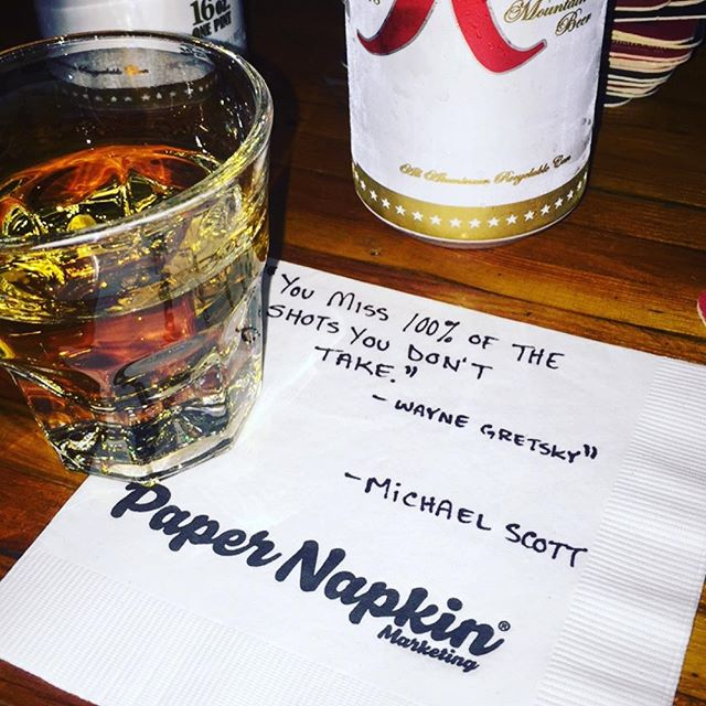 What I hear: Might as well take another. We don't need to be told twice! #theoffice -#papernapkinproject #shots