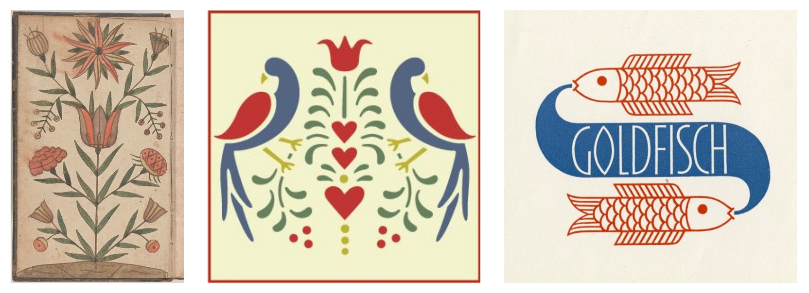 German folk art and 1930's graphic design as inspiration