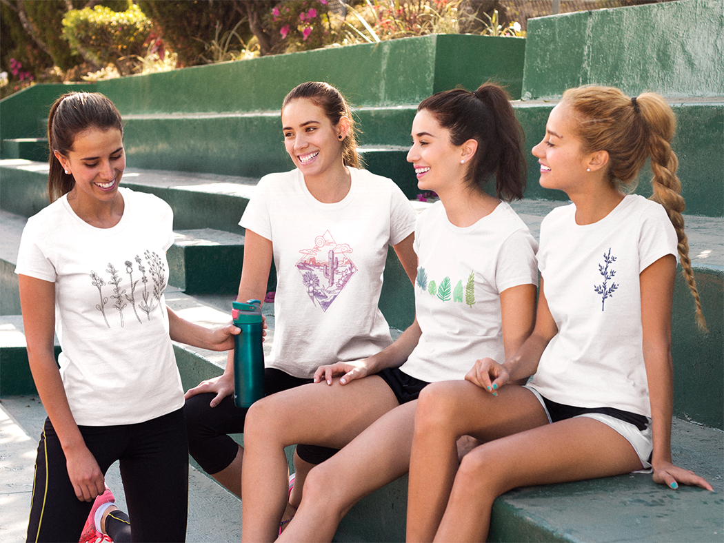4 girls workout bench tshirts.png