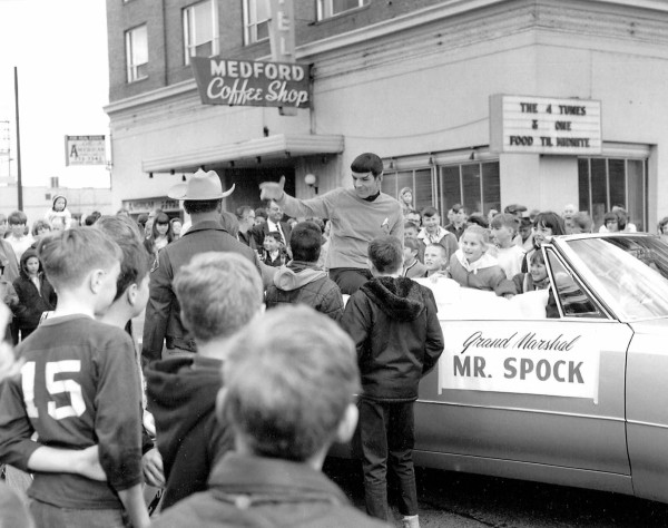 Leonard Nimoy as the grand marshal of the Pear Blossom Parade — Medford, OR, 1967