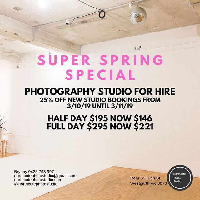 The weather is amazing!! 🌞 It's the perfect time to create... Come and do a shoot, hold a workshop or use the space to test out new ideas 💡 🌟⚡️ ⠀⠀⠀⠀⠀⠀⠀⠀⠀ ⠀⠀⠀⠀⠀⠀⠀⠀⠀ #springspecial #itsgettinghot #northcotephotostudio #cyclorama #photographystudio #melbournecreatives #melbournephotographer #melbournecreativespaces #fashionshoot #melbournestylist #melbournemakeupartist #melbournefashion