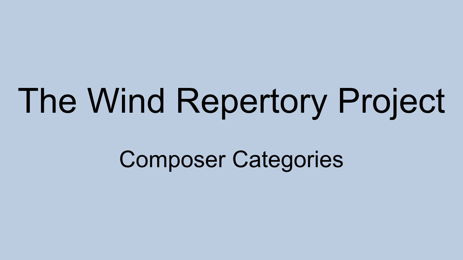 Created by Nikk Pilato (Associate Director of Bands at Indiana State), this is a comprehensive and crowd-sourced wiki of repertoire for the wind band. Scroll to the bottom of the homepage to find composer category filters including female composers, African American composers, and composers of international origins.