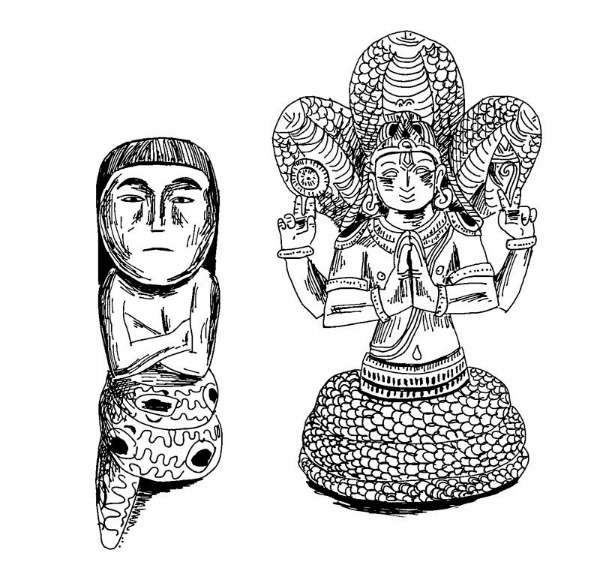 A Shipibo shaman's pipe from the upper Amazon and a carving of yogic sage Patanjali, both depicted as half man, half serpent. The serpent is a symbol of creative life energy and transformation that is found in many cultures around the world. (Illustration by Debbie Stapleton.)