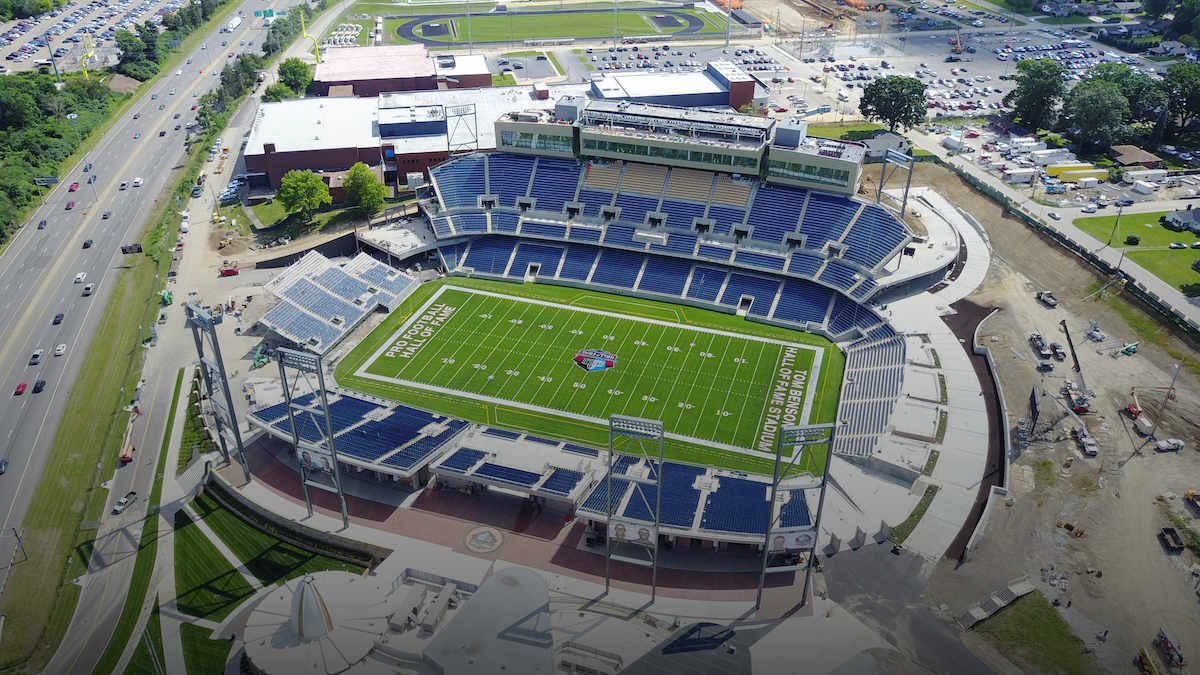 Tom Benson Hall of Fame Stadium at the Johnson Controls Hall of Fame Village. Students of the Band of Excellence will perform  alongside  the Bluecoats at pregame of the NFL Hall of Fame Game this summer!