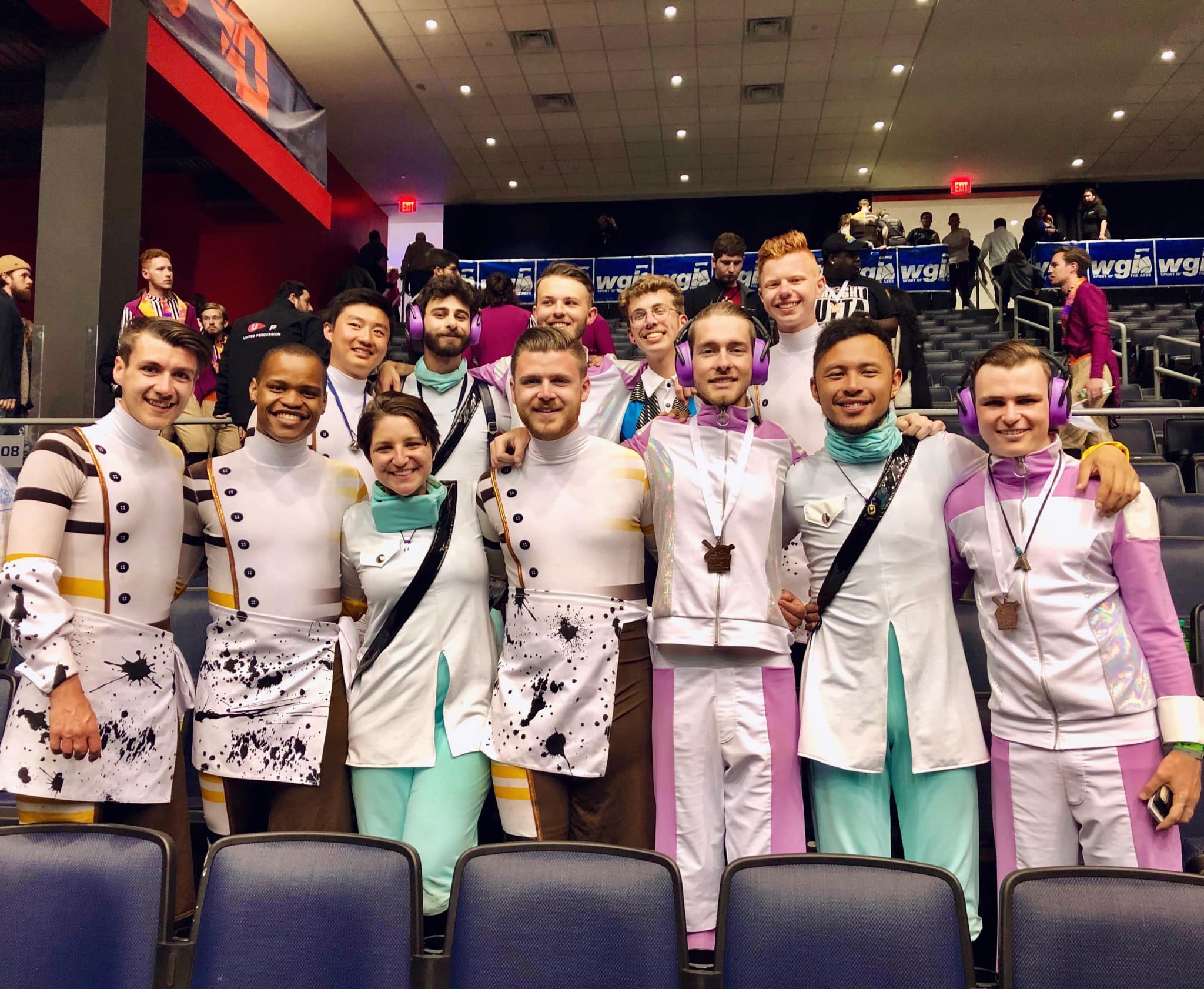- Members of the 2019 Bluecoats Front Ensemble who march Rhythm X, Infinity Percussion, Monarch Independent, and Music City Mystique.