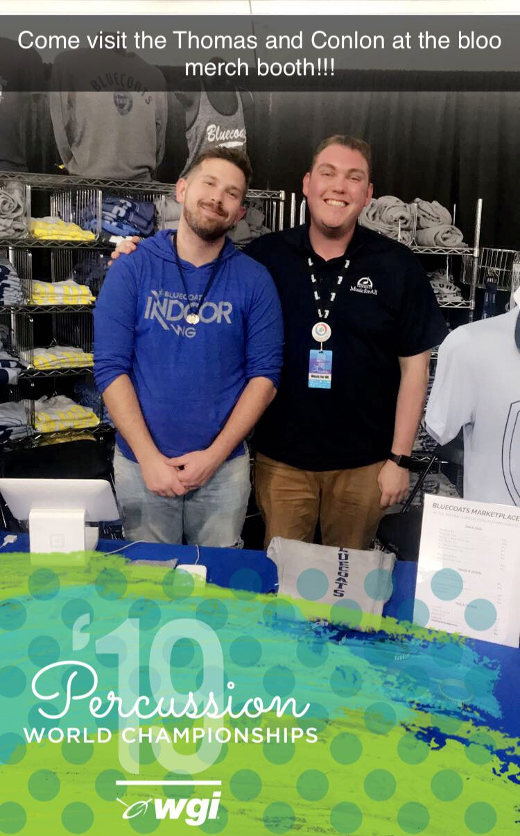 - The Bluecoats Marketplace was open for Percussion and Winds World Championships. It was awesome to interact with some Bluecoats fans! Thanks for an awesome week!