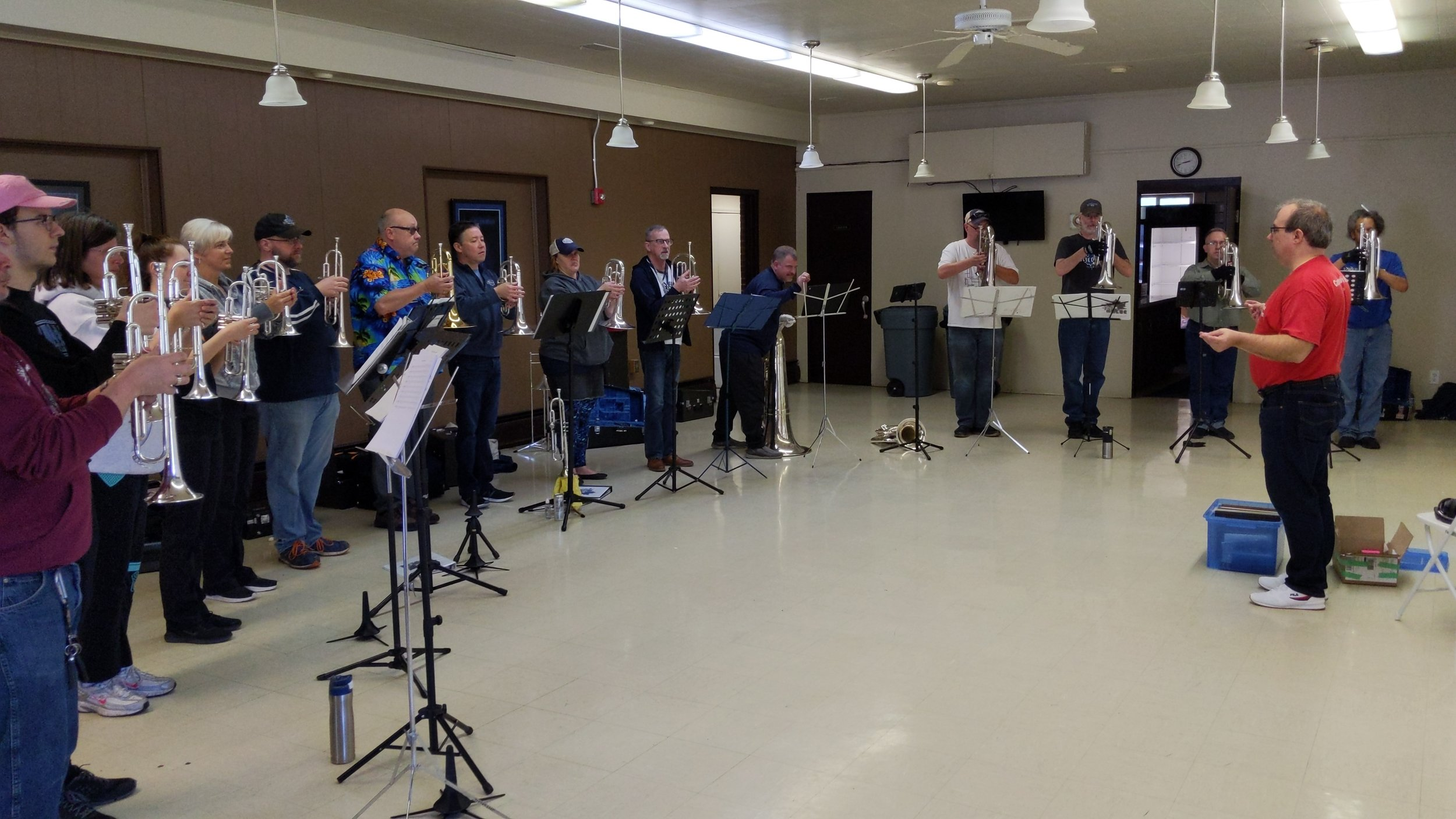 Rhythm IN BLUE rehearsing on Saturday afternoon.