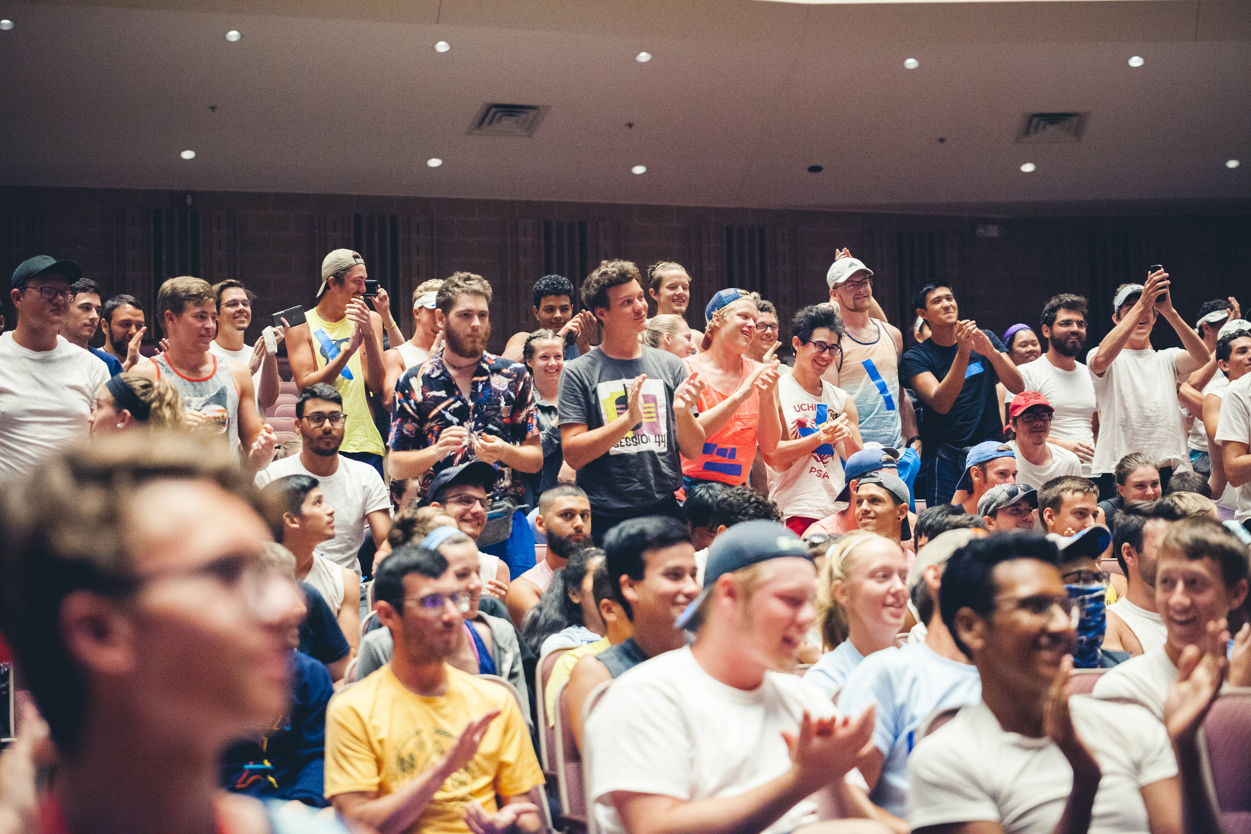 Members of the 2019 Bluecoats and students of THE BLUE WAY Interactive Educational Experience jump to their feet following the exciting finale of Jeff Nelsen's  Fearless Performance  lecture.