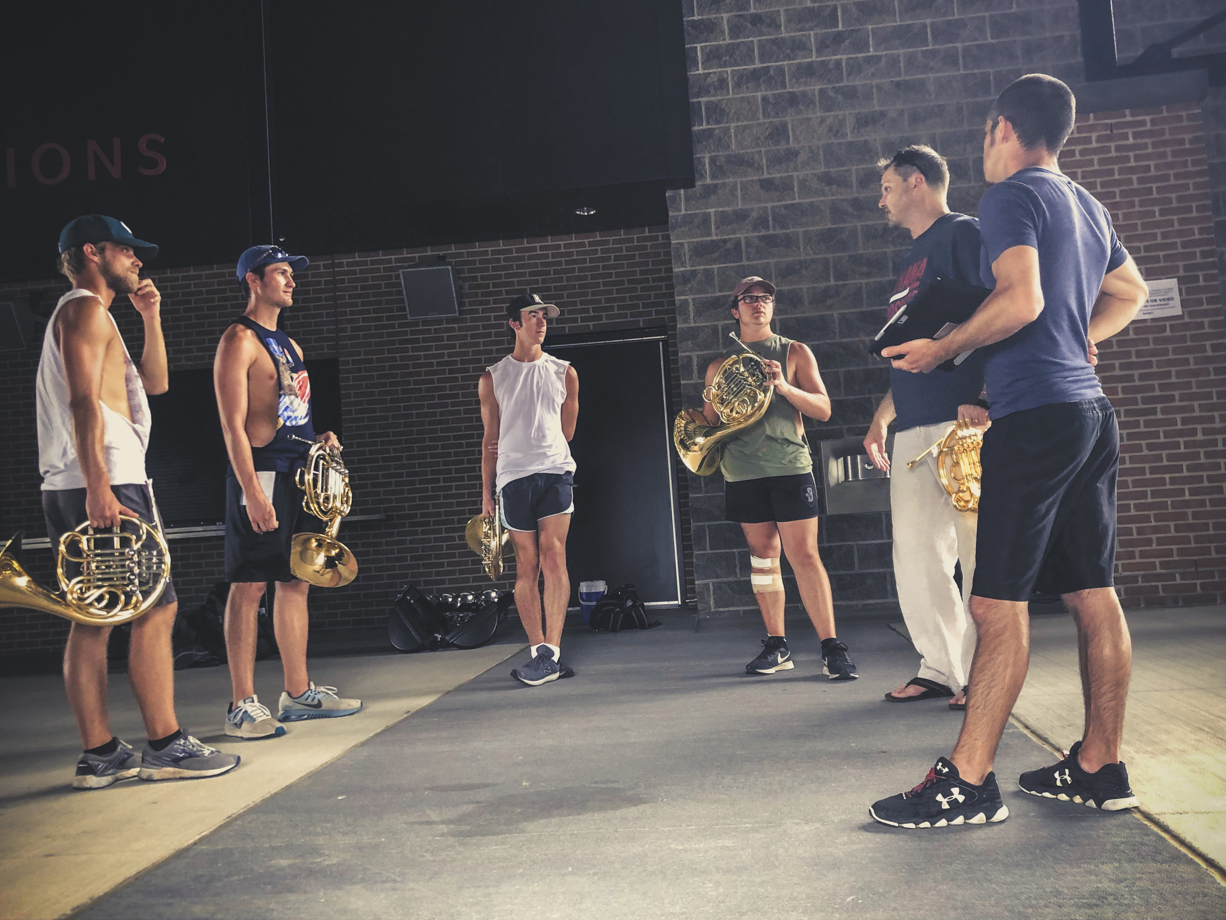 Jeff works with horn players and staff on selections from the 2019 Bluecoats production. ;)