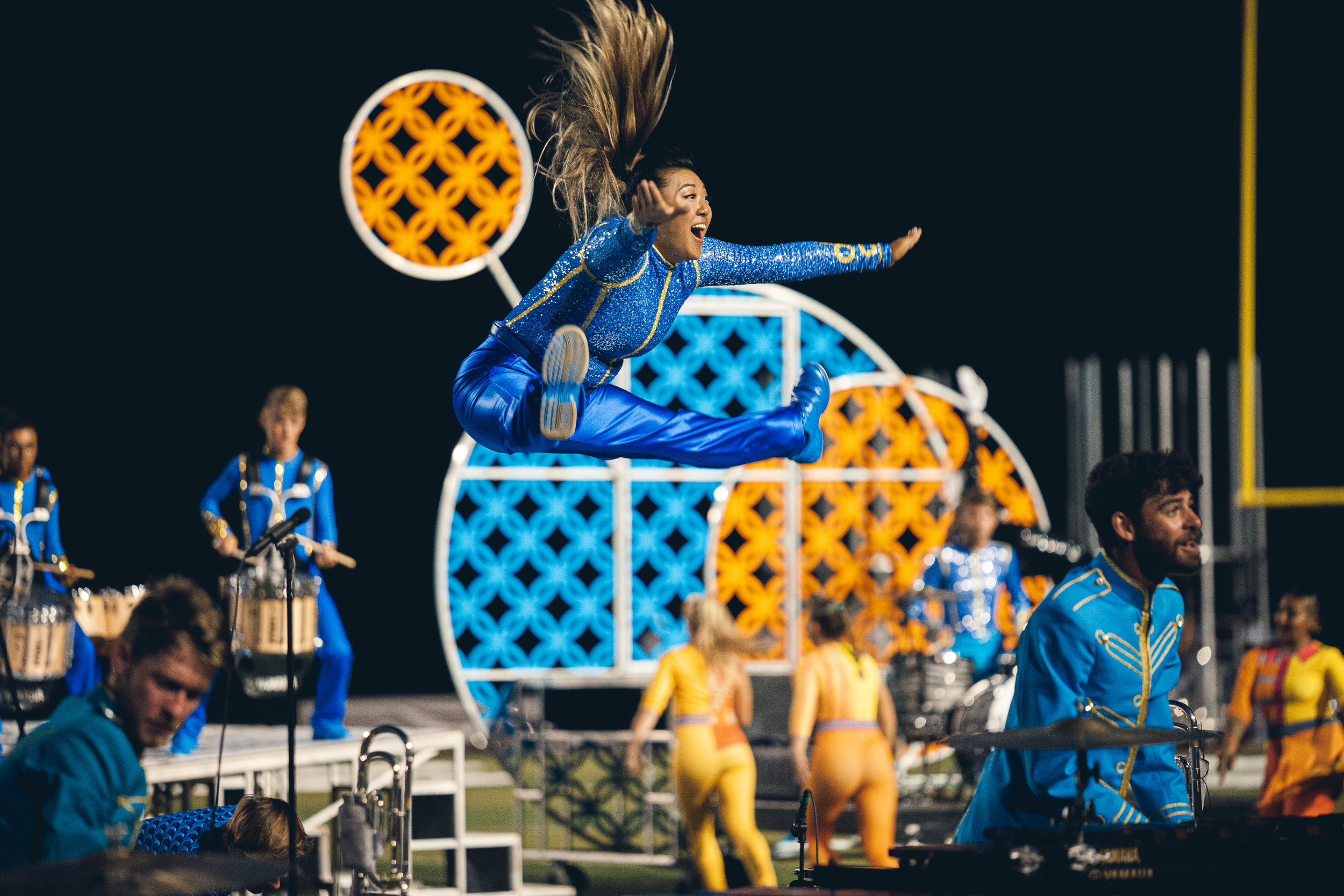 A performer enjoying a performance of  The BLUECOATS  in Kenosha, WI.