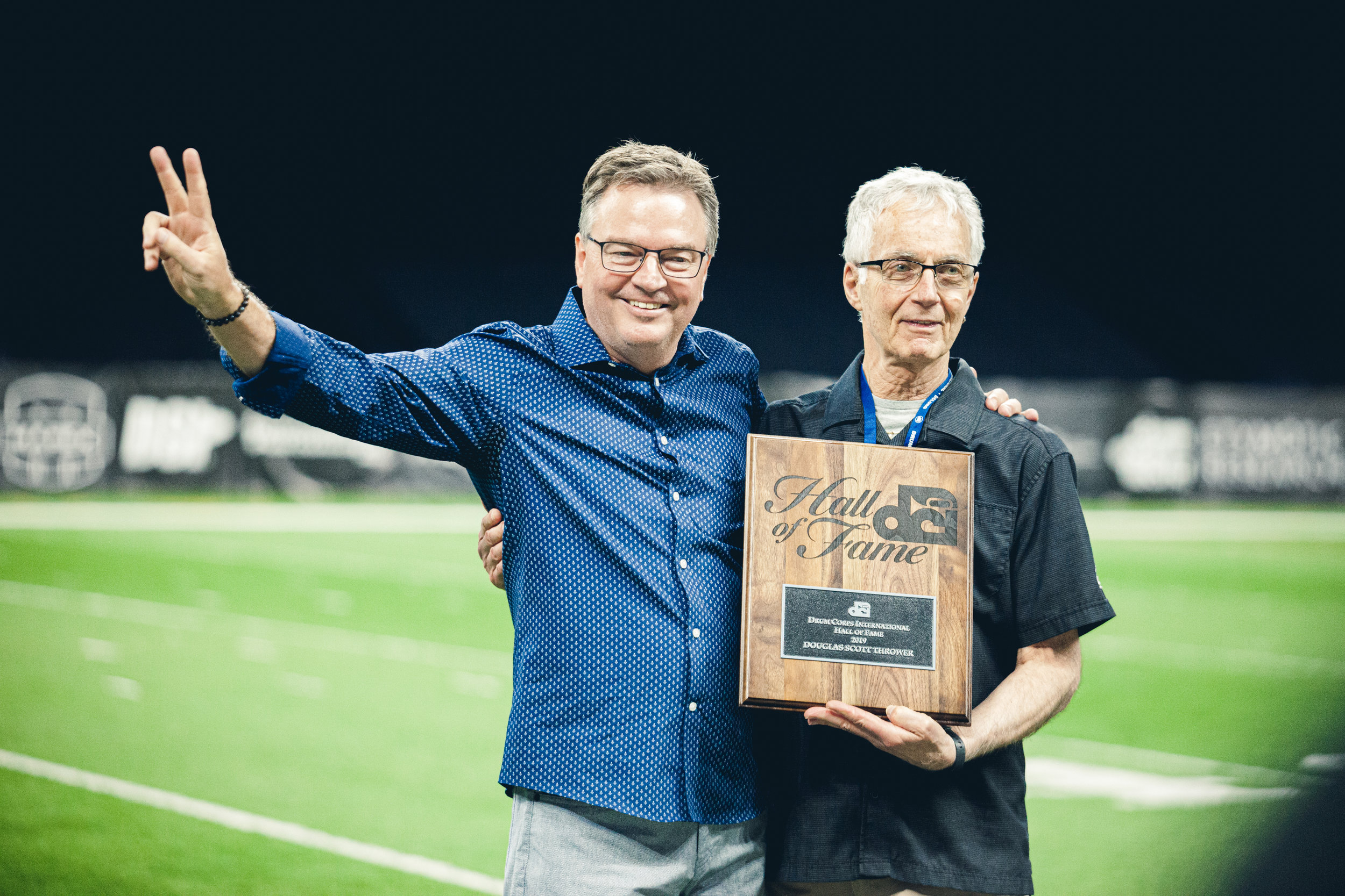 Bluecoats Composer / Brass Arranger Doug Thrower accepts his DCI Hall of Fame award at the 2019 DCI World Championships.