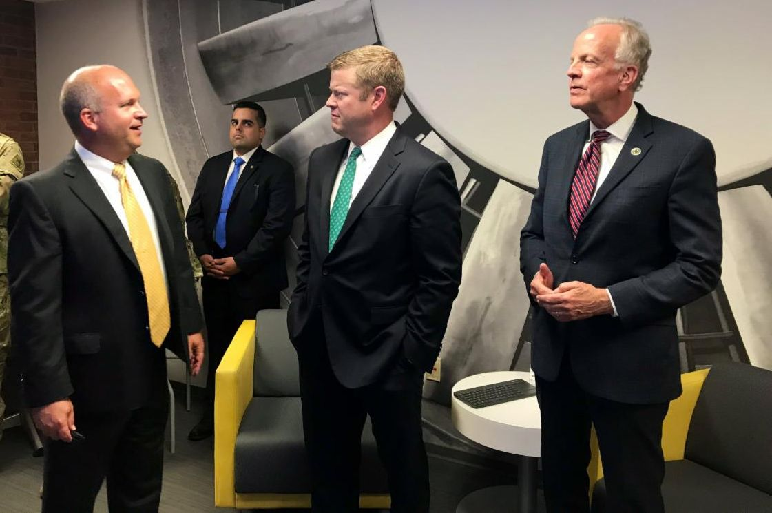 John Tomblin, WSU vice president for research and economic development, hosted U.S. Senator Jerry Moran and Acting Secretary of the U.S. Army Hon. Ryan McCarthy for tours of WSU's National Institute for Aviation Research on Sept. 5.