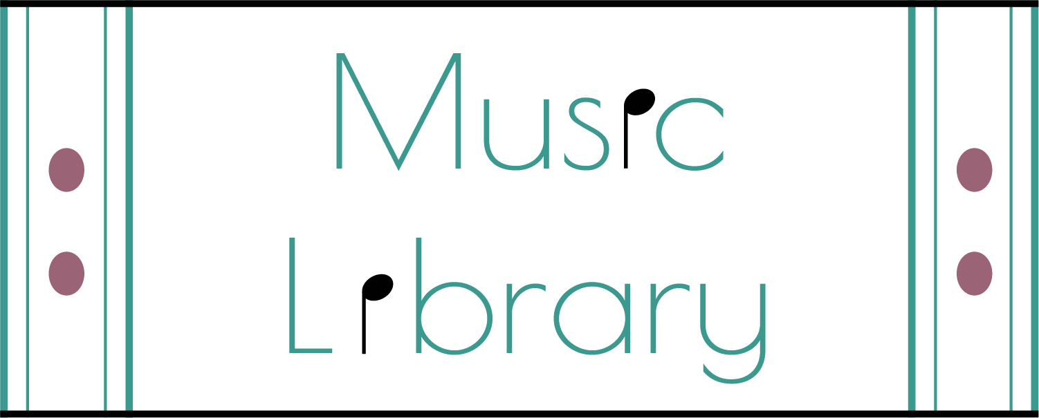 The Music Library Logo consists of two quarter notes within the words Music Library as well as two repeat signs made to look like books.