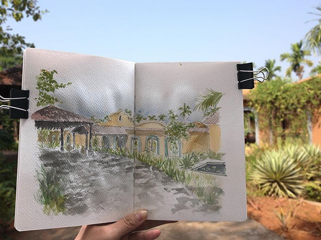 Guests love us as a great spot for a creative retreat! Whether you're an artist, writer, or anyone just looking to unwind. . . . #villapanchavatti #avanilaya #luxuryvilla #luxuryresort #goatravel #travelindia #watercolorart #sketchbook #goavillarentals