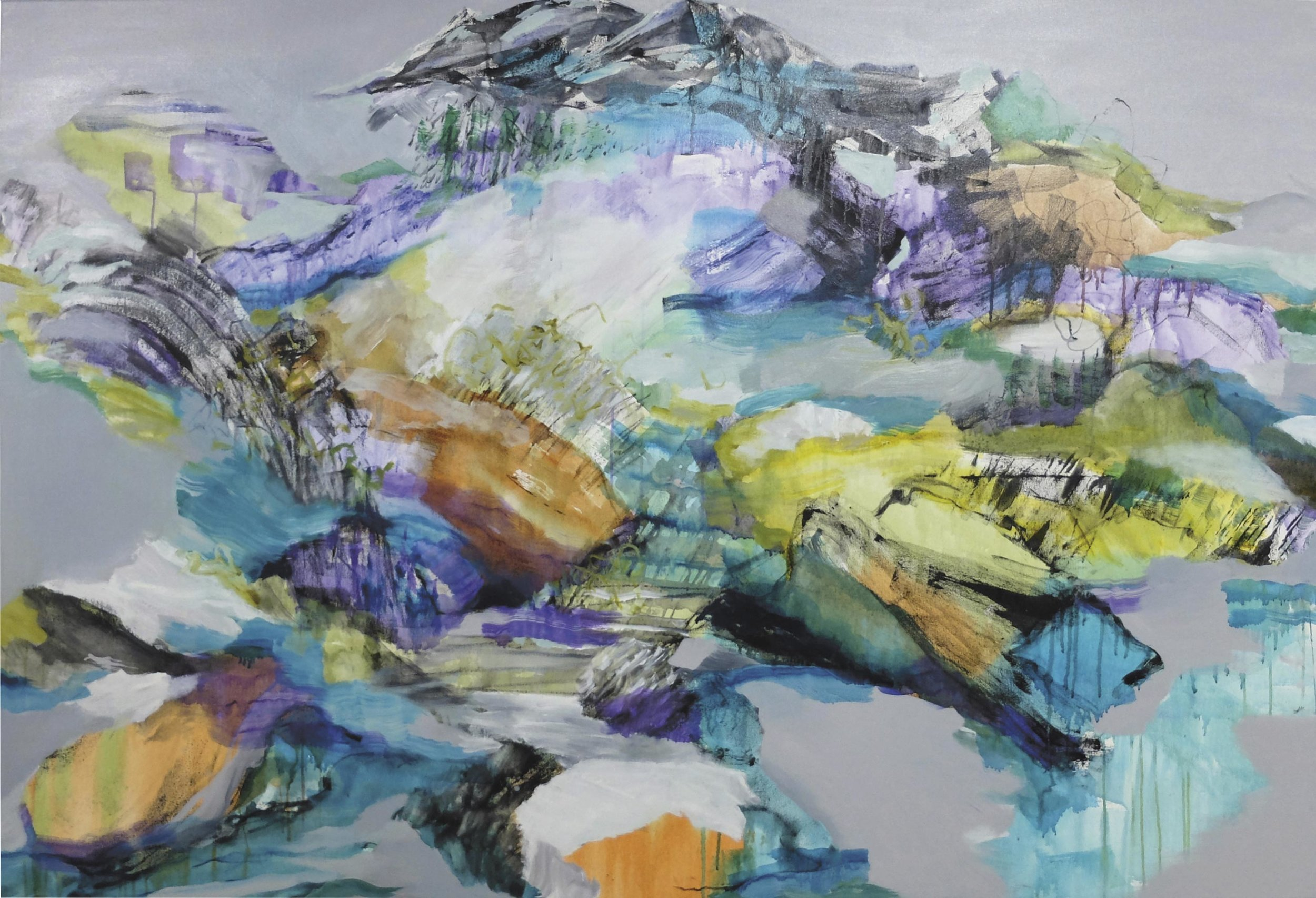 Rocks to River (Blakehurst)  – oil and acrylic on canvas, 122 x 182cm. A commission for the St George Hospital Cancer Unit.