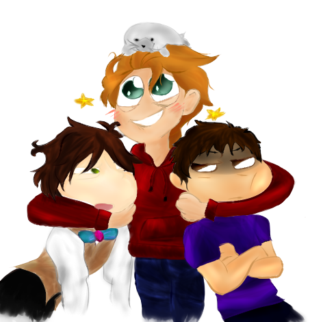 From Left to Right, Mirena McLean, Alex Sharp (me), and Jayrn Macinnes. Art done by Mirena McLean.