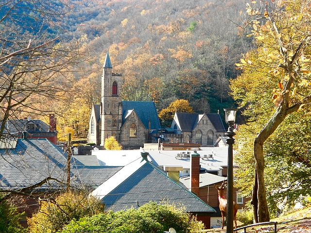 Jim Thorpe - View of St. Marks from the Asa Packer Mansion grounds, Photo Credit: Smallbones [CC0], from Wikimedia Commons