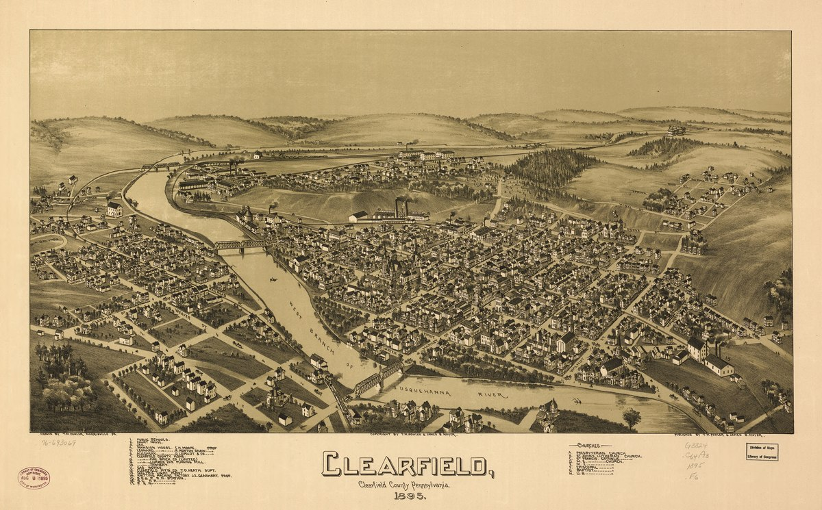 Clearfield 1895 - Photo Credit: T. M. Fowler & James B. Moyer [1895], Morrisville, PA [Public domain], via Wikimedia Commons