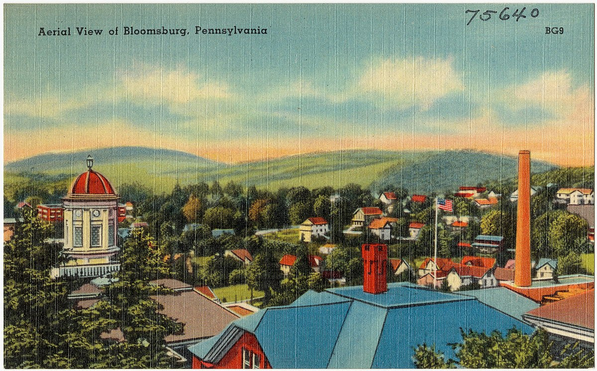 Bloombsurg - Photo Credit: The Mebane Greeting Card Co., Wilkes-Barre, PA. [Public domain], via Wikimedia Commons