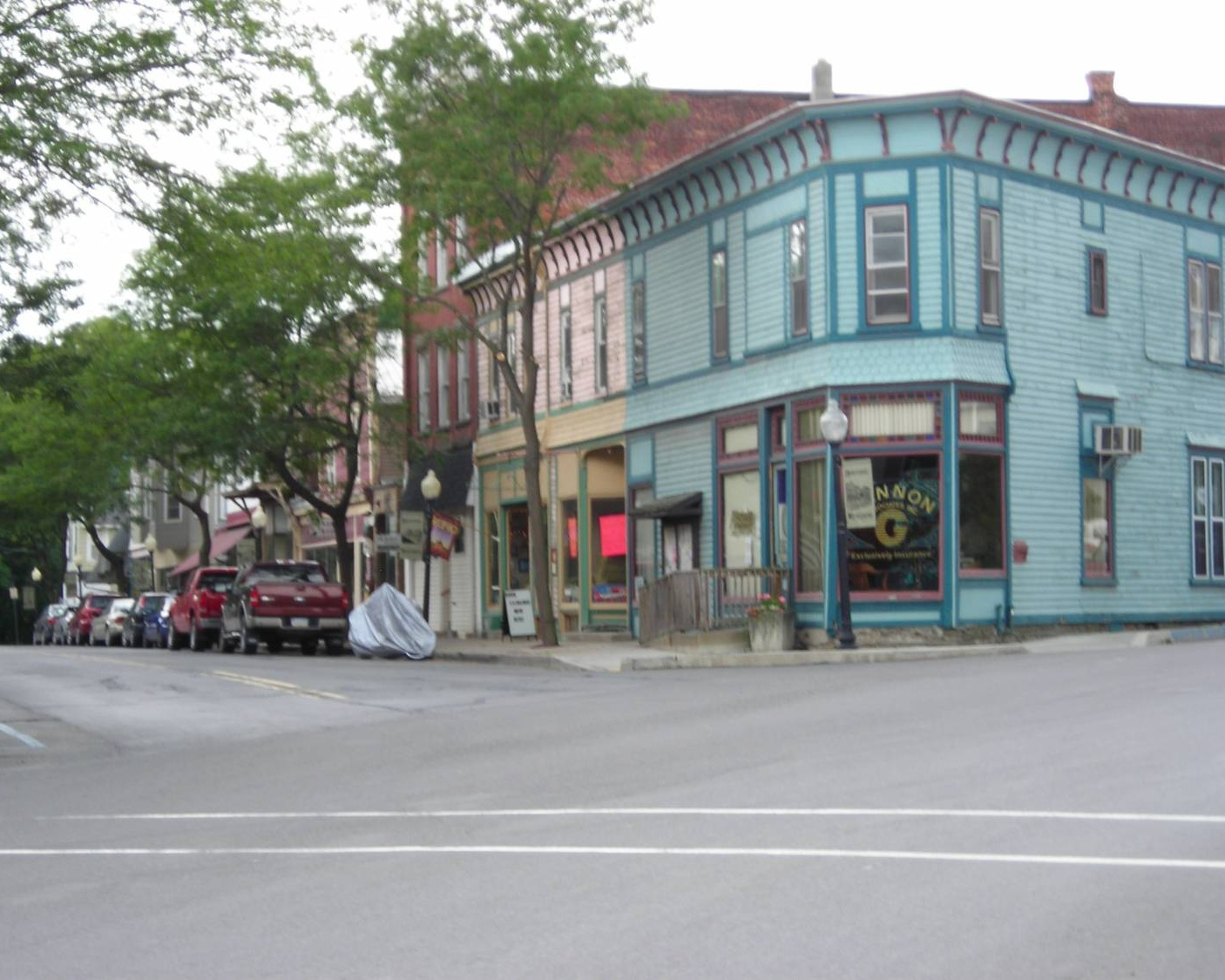 Downtown Wylausing, Pennsylvania showing Victorian buildings. Corner of Church and Main looking south - Photo Credit: Thaddeus P. Bejnar [CC0], from Wikimedia Commons