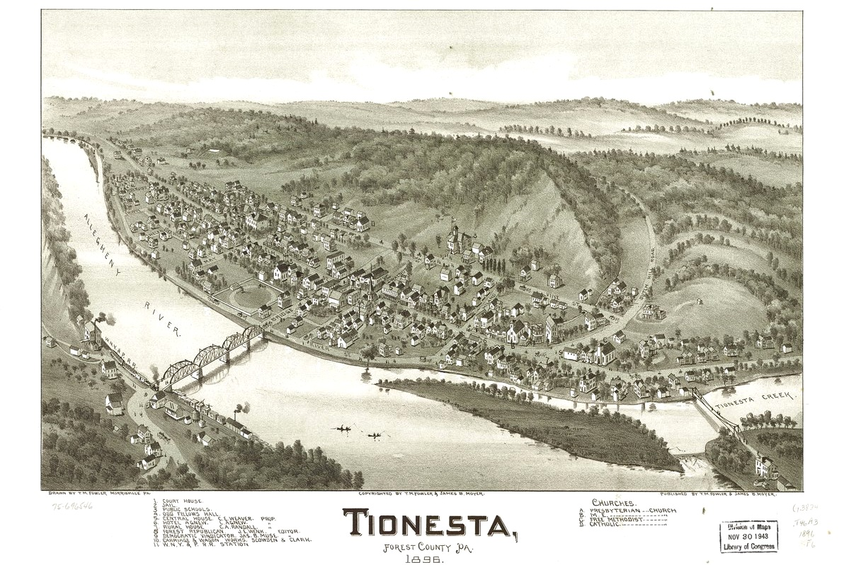 Tionesta 1895 - Photo Credit: By Fowler, T. M. (Thaddeus Mortimer); Moyer, James; Fowler, T. M. - https://www.loc.gov/item/75696546/, Public Domain, https://commons.wikimedia.org/