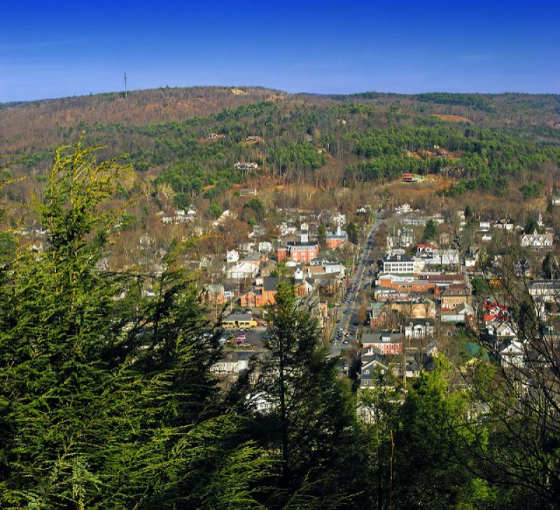 Milford, Pike County, as seen from the Milford Knob Trail - Photo Credit: Nicholas A. Tonelli - cc logo  Attribution 2.0 Generic (CC BY 2.0) - no changes made