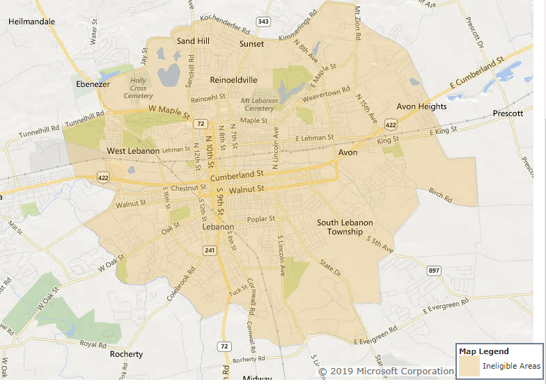 Lebanon city limits is the only area of Lebanon County, Pennsylvania that is not eligible for the USDA Rural Development Loan.