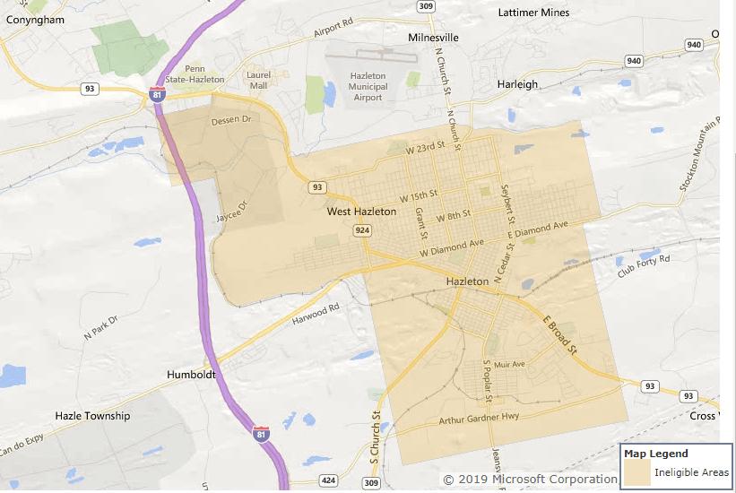 Luzerne County PA - USDA loan map - Hazleton.PNG