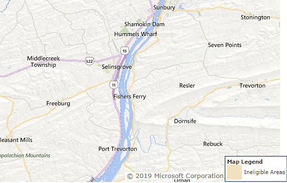 This entire area of Snyder County Pennsylvania is USDA Eligible
